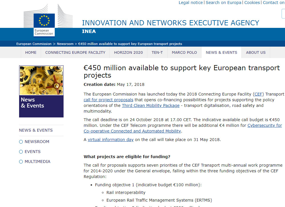 European Commission has launched a call for project proposals: €450 ...